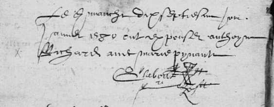 Acte de mariage d'Antoine Richard et de Marie Pineau. 17 janvier 1580. (Source : AD17 en ligne. I 147 (I 11). La Rochelle. Salle Saint-Yon. Baptêmes et mariages. 1579-1582, vue 164/165)