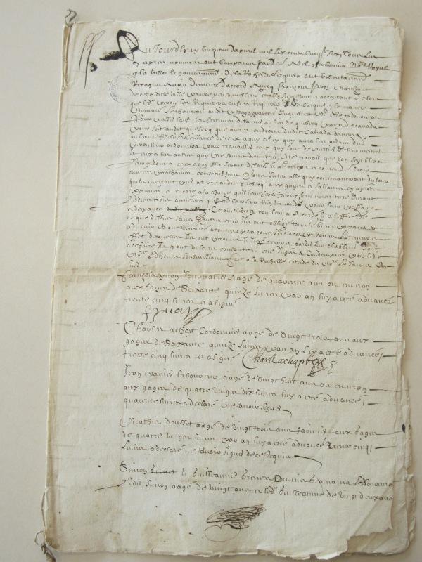 Accord et liste de plusieurs obligés pour Canada. 11 avril 1656. (Source : AD17. Notaire Abel Cherbonnier. Liasse 3 E 1128, pièce 14.
