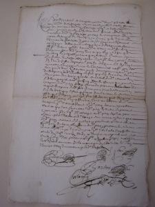 Procuration de François Peron à Jean Gitton pour le représenter à Québec. 13 avril 1656. (Source : AD17. Notaire Abel Cherbonnier. Liasse 3 E 1128, pièce 11)