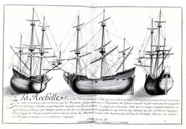 Navires de commerce rochelais au XVIIième siècle. Flûtes. (Source : Dessins de l'Album dit de Colbert, 1679)