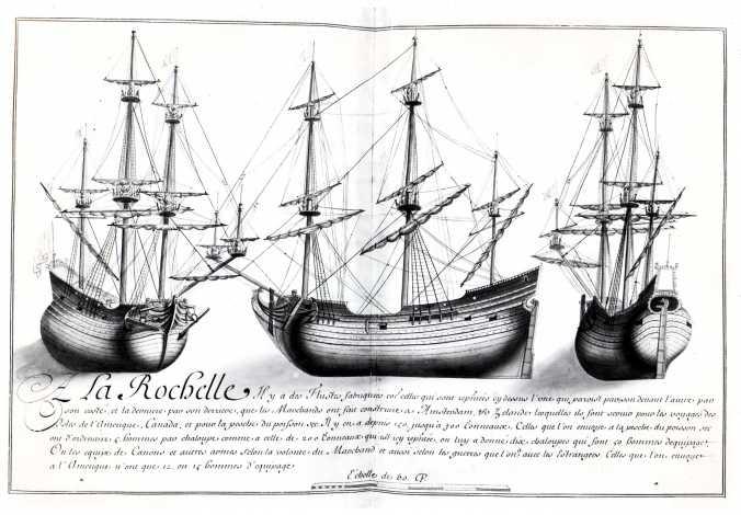 Navires de commerce rochelais au XVIIe siècle. Flûtes. (Source : Dessins de l'Album dit de Colbert, 1679)