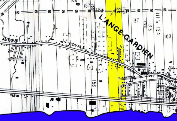 Localisation des lots 150 et 151 à L'Ange-Gardien. (Source : Raymond Gariépy, Les terres de L'Ange-Gardien (Côte-de-Beaupré), Québec, Société de généalogie de Québec, contribution no 44, 1984)