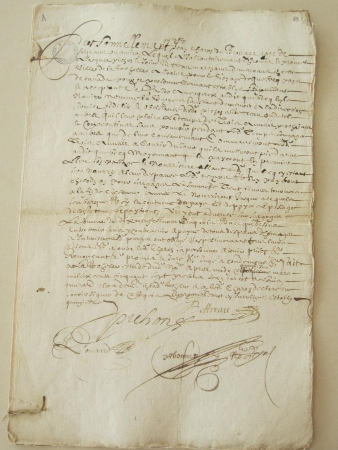 Promesse de ceux qui sont obligés pour le Canada à Jacques Pichon et Josué Bettreau. 15 mars 1657. (Source : AD17. Notaire Abel Cherbonnier. Liasse 3 E 1128, pièces 88, 89 et 90).