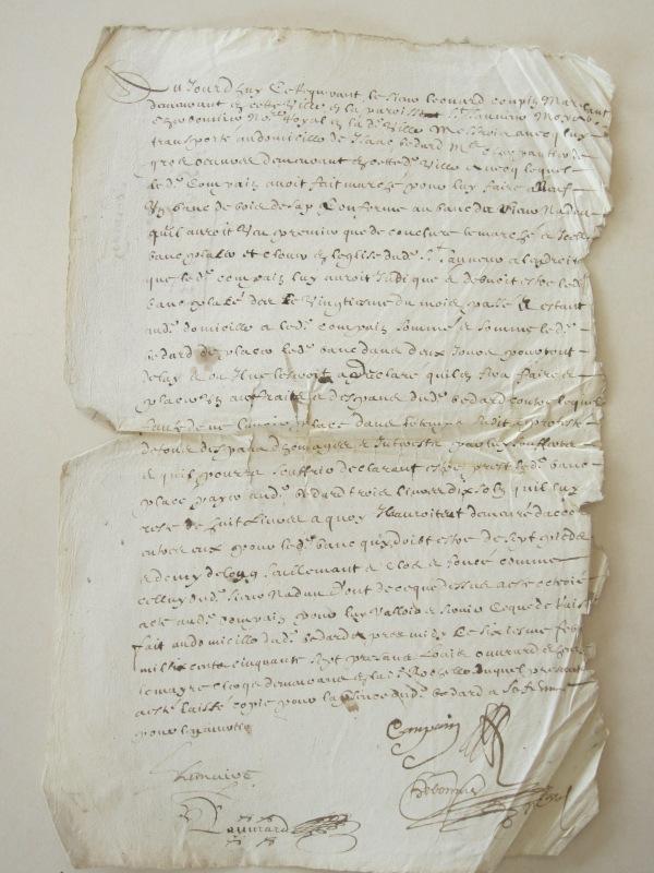 Sommation de Léonard Compain à Isaac Bédard. 6 février 1657. (Source : AD17. Greffe Abel Cherbonnier. Liasse 3 E 301.)