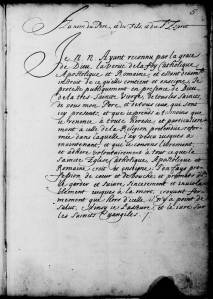 Source : Archives de l'Archidiocèse de Québec. Cote : 66CD, Abjurations, vol. A., p. 5.