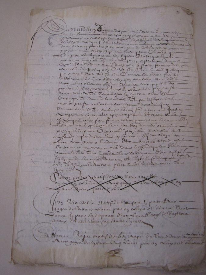 Liste de plusieurs passagers pour Québec, pays de la Nouvelle-France 1657. (Source : AD17. Notaire Abel Cherbonnier. Liasse 3 E 1128, fol. 96 et 97).