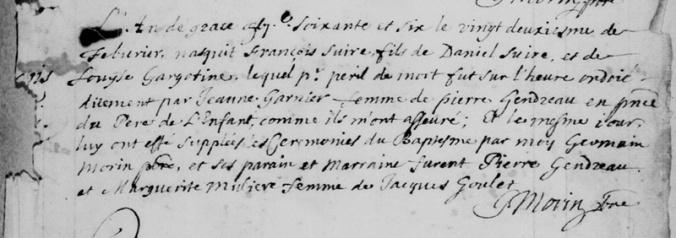 Acte de baptême de François Perron. Château-Richer. 22 février 1666.         (Source : Registres BMS de Château-Richer. FamilySearch Record Search 4295593_377)