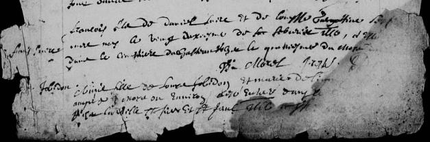 Acte de sépulture de François Perron. Château-Richer. 4 avril 1666.         (Source : Registres BMS de Château-Richer. FamilySearch Record Search 4264467_736.)