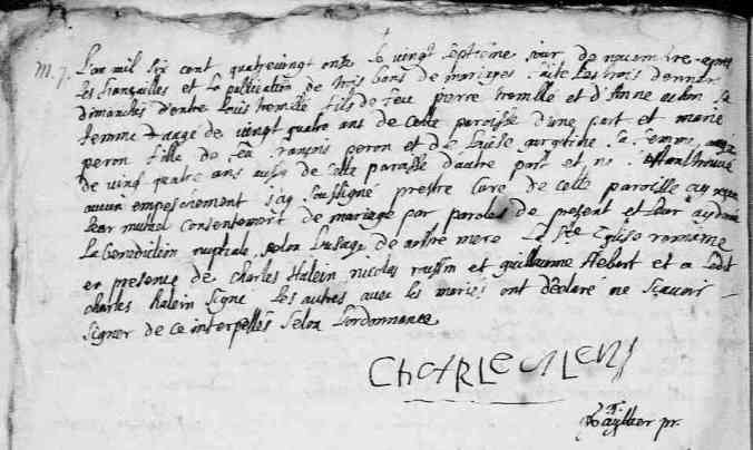 Acte de mariage de Marie Perron et de Louis Tremblay. L'Ange-Gardien. 27 novembre 1691. (Source : Fonds Drouin numérisé en ligne. Microfilm 1266760248, p. 4.)