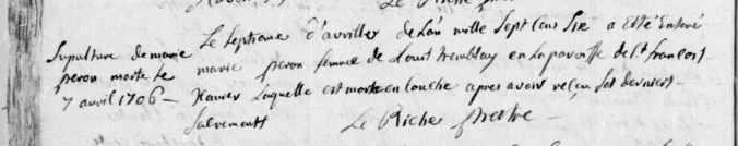Acte de sépulture de Marie Perron. 7 avril 1706. (Source : Fonds Drouin numérisé en ligne. Microfilm 8010226, p. 38)