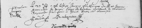 Acte de baptême de Jacques Dussy. 27 septembre 1630. (Source : AD17. Ms 253. La Rochelle. Paroisse Sainte-Marguerite. Baptêmes. 1620-1639, folio 59r)