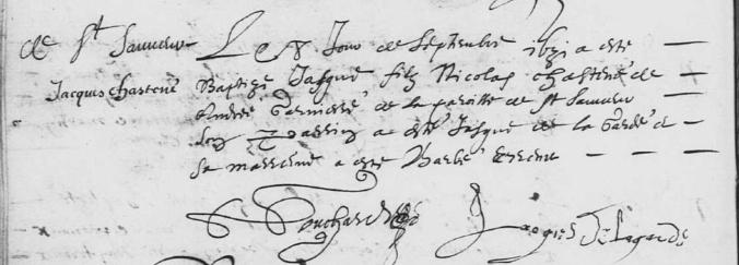 Acte de baptême de Jacques Chastaignier. 8 septembre 1631. (Source : AD17. Ms 253. La Rochelle. Paroisse Sainte-Marguerite. Baptêmes. 1620-1639, folio 81v)