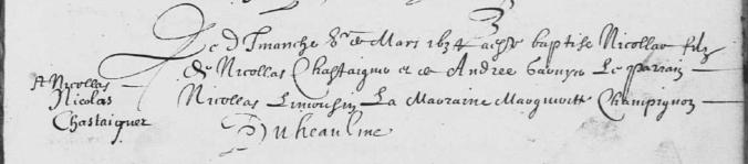 Acte de baptême de Nicolas Chastaignier. 5 mars 1634. (Source : AD17. Ms 253. La Rochelle. Paroisse Sainte-Marguerite. Baptêmes. 1620-1639, folio 137r)