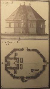 Coupe et profil du Grand Temple de La Rochelle. Figure 5. Élévation. Figure 6. Intérieur. (Source : Claude Masse, Recueil des plans de La Rochelle, La Rochelle, éditions Rupella, 1979, feuille 76)