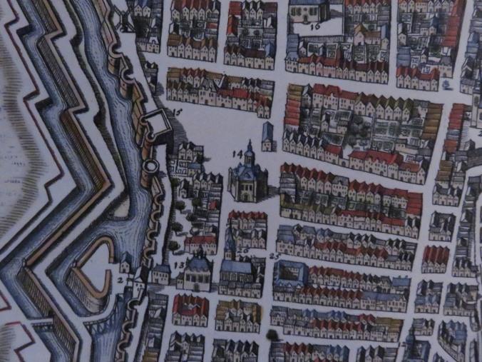 Plan de La Rochelle en 1620. (Source : Extrait de la « Topographia Gallie de Caspar Merian. Musée rochelais d'histoire protestante)