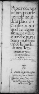 Première page du registre des baptêmes et mariages du Temple neuf. (Source : AD17. I156 (I20). La Rochelle. Collection du greffe. Pastoral. 1603-1610. Vue 2/208)