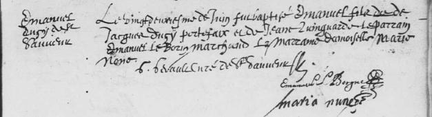 Acte de baptême d'Émanuel Ducy. 22 juin 1635. (Source : AD17. Ms 253. La Rochelle. Paroisse Sainte-Marguerite. Baptêmes. 1620-1639, folio 167r)