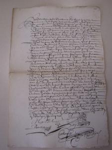 Procuration de François Peron à Michel Desorcis pour le représenter à Québec. 17 avril 1657. (Source : AD17. Notaire Abel Cherbonnier. Liasse 3 E 1128, fol. 107. 17 avril 1657)