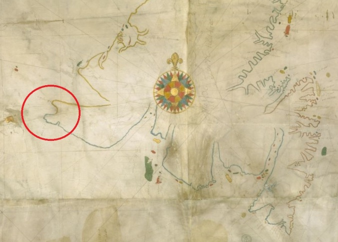 Extrait. Carte des côtes de Terre-Neuve. La baie du Cap Ray est encerclée. (Source : Bibliothèque nationale de France, département Cartes et plans, CPL GE SH ARCH-23 in http://gallica.bnf.fr)