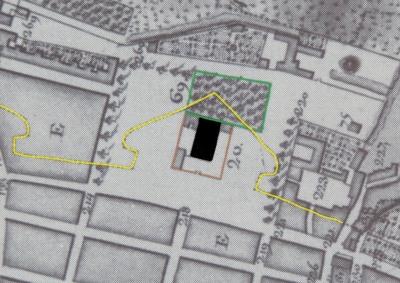 Extrait. Plan de La Rochelle. Emplacement du temple de la « ville neuve ». (Source : Claude Masse, Recueil des plans de La Rochelle, La Rochelle, éditions Rupella, 1979, feuille 23)