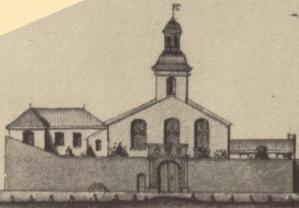 Extrait. Façade du temple de la Villeneuve. (Source : Claude Masse, Recueil des plans de La Rochelle, La Rochelle, éditions Rupella, 1979, feuille 76)
