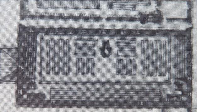 Plan particulier du temple de la Villeneuve. (Source : Claude Masse, Recueil des plans de La Rochelle, La Rochelle, éditions Rupella, 1979, feuille 76)