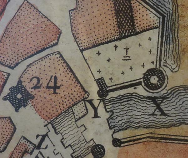 Extrait. Plan de La Rochelle. Emplacement du cimetière de Saint-Sauveur. 1573. Le cimetière et le clocher de l'église Saint-Sauveur (24). (Source : Musée maritime de La Rochelle. Photo : Collection Guy Perron)