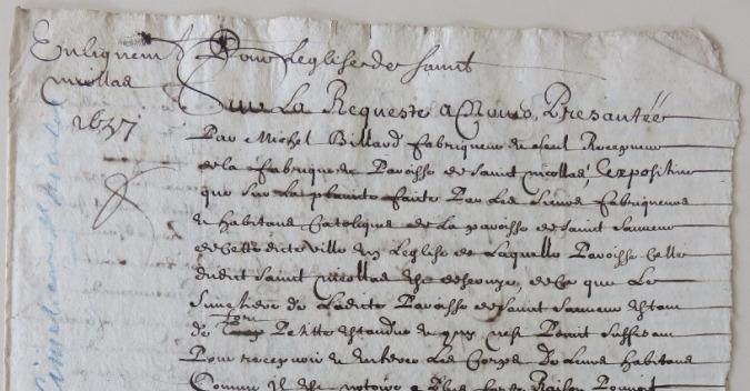 Procès-verbal de l'enlignement d'une place pour servir de cimetière à la paroisse Saint-Nicolas. (Source : AMLR. DDARCHAN32. Cimetières. Pièce 1. 19 mai 1657)