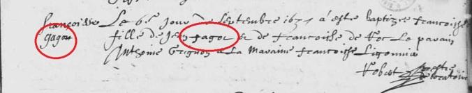 Le patronyme en marge est différent de celui inscrit dans le libellé de l'acte de baptême de Françoise Fagot. 6 septembre 1637. (Source : AD17. Ms 253. La Rochelle. Paroisse Sainte-Marguerite. Baptêmes. 1620-1639, folio 216r)