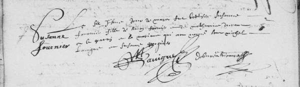 Acte de baptême de Suzanne Fournier. 6 mars 1630. (Source : AD17. Ms 253. La Rochelle. Paroisse Sainte-Marguerite. Baptêmes. 1620-1639, folio 45v)