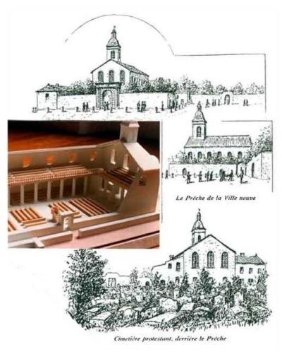 Reconstitution du temple de la Villeneuve. Maquette Didier Daval. (Source : Le temple de la Villeneuve au 17e siècle)