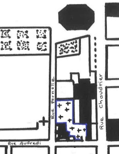 Cimetière de Saint-Barthelémy. (Source : Père B. Coutant, Les rues Grosse Horloge, Chef-de-Ville, du Palais, Chaudrier, Admyrault, de l'Escale, Fromentin, Saint-Léonard, La Rochelle, s.é., cahier no 2, s.d., p. 24bis)