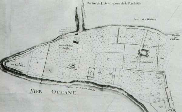 Le cimetière (18) et le couvent des Minimes (36). (Source : Plan des Minimes)