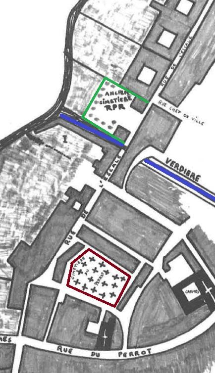 L'ancien cimetière RPR (vert) et le cimetière du Pérot (rouge). (Source : Père B. Coutant, La Rochelle, essais sur la naissance d'un quartier 1628-1689, La Rochelle, s.é., cahier no 1, s.d., p. 14)