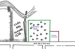 L'ancien cimetière RPR et la maison de Germain Cothonneau l'aîné. (Source : Père B. Coutant, La Rochelle, essais sur la naissance d'un quartier 1628-1689, La Rochelle, s.é., cahier no 1, s.d., p. 15)