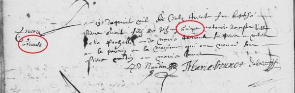 Baptême de Pierre Guyard et non Girault. 15 avril 1630. (Source : AD17. Ms 253. La Rochelle. Paroisse Sainte-Marguerite. Baptêmes. 1620-1639, folio 49v)