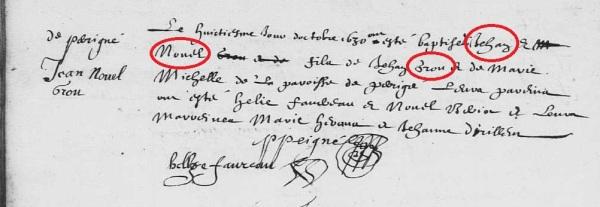 Acte des baptêmes de Jean et Noël Grost et non de Jean-Noël Grou. 8 octobre 1630. (Source : AD17. Ms 253. La Rochelle. Paroisse Sainte-Marguerite. Baptêmes. 1620-1639, folio 60v)