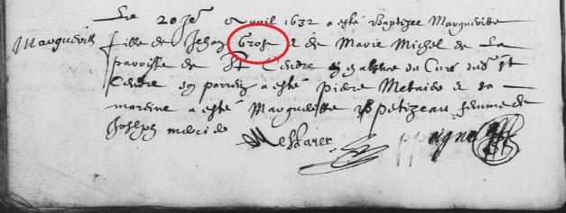Acte de baptême de Marguerite Grost, sœur de Jean et de Noël Grost. 20 avril 1632. (Source : AD17. Ms 253. La Rochelle. Paroisse Sainte-Marguerite. Baptêmes. 1620-1639, folio 94v)