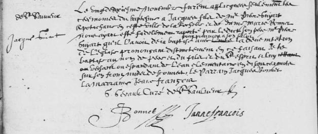 Baptême de Jacques Guyard