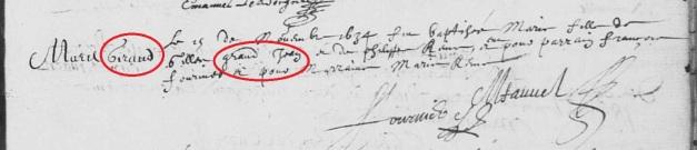 Acte de baptême de Marie Grandjean et non Giraud. 15 novembre 1634. (Source : AD17. Ms 253. La Rochelle. Paroisse Sainte-Marguerite. Baptêmes. 1620-1639, folio 151r)