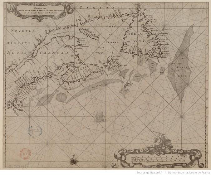 Plan de Terre-Neuve, Nouvelle-France, Nouvelle-Angleterre et golfe du Saint-Laurent (Pascaerte van Terra Nova, Nova Francia, Nieuw Engeland en de groote revier van Canada), par H. Donckert. 1665. (Source : gallica.bnf.fr. N8595896_JPEG_1_1DM)