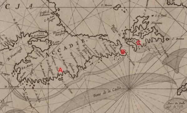 L'habitation de La Hève (A) est à quelques 60 lieues de Canseau (B) et du fort Saint-Pierre (C). Extrait. Pascaerte van Terra Nova, Nova Francia, Nieuw Engeland en de groote revier van Canada, par H. Donckert. 1665. (Source : gallica.bnf.fr. N8595896_JPEG_1_1DM)
