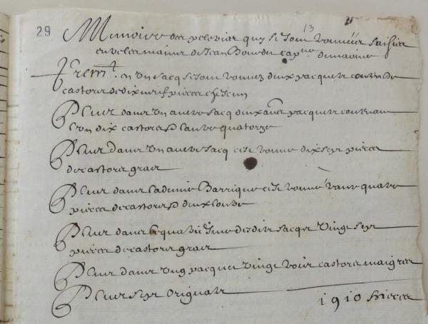 Mémoire des pelleteries saisies entre les mains de Jean Bourdet, capitaine de Marine. (Source : AD17. Fonds de l'Amirauté de La Rochelle. Documents du greffe. B 5663, fol. 29r, anciennement pièce 13. 3 février 1657)