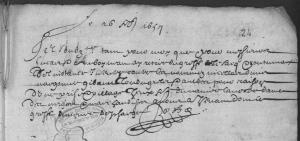 Retiré du sac de procès par Philippe Rozet. (Source : AD17 en ligne. Fonds de l'Amirauté de La Rochelle. B 198, fol. 24r. Retirés des sacs. 1617-1687. Vue 28/82. 6 février 1657)
