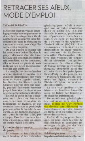 (Source : Journal La Presse, cahier Voyage, 12 septembre 2015, p. 7)