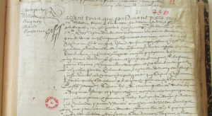 Extrait. Contrat de charte-partie pour l'expédition du navire Les Armes d'Amsterdam à Québec. 20 janvier 1657. (Source : AD17. Notaire Pierre Moreau. Registre 3 E 59/261, fol. 22 et 23r)