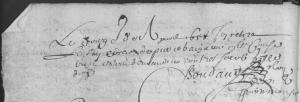 Retiré du sac de procès par le sieur Boudaud. (Source : AD17 en ligne. Fonds de l'Amirauté de La Rochelle. Retirés des sacs. 1617-1687. Vue 38/82. 12 avril 1658)