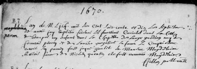 Acte de baptême de Marie-Madeleine Perron. L'Ange-Gardien. 7 avril 1670. (Source : Fonds Drouin numérisé en ligne. Microfilm 31490713)