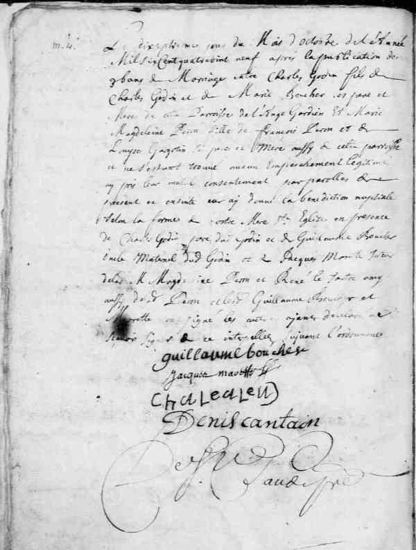 Acte de mariage de Marie-Madeleine Perron et de Charles Godin. L'Ange-Gardien. 17 octobre 1689. (Source : Fonds Drouin numérisé en ligne. Microfilm 31490763)
