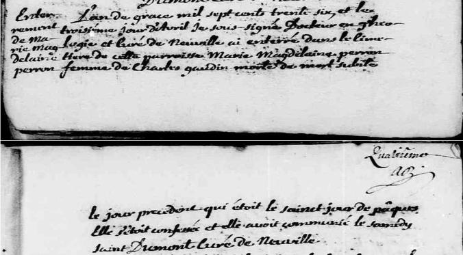 Acte de sépulture de Marie-Madeleine Perron. Neuville. 3 avril 1670. (Source : Fonds Drouin numérisé en ligne. Microfilm 1628A0209)